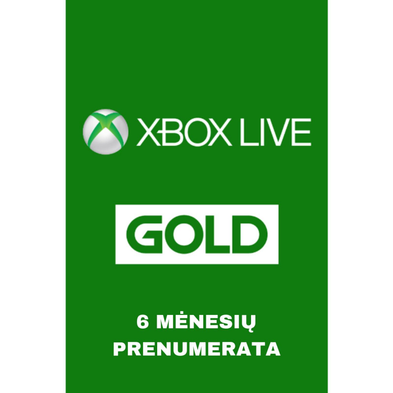 Xbox Live Gold 6 mėnesių prenumerata